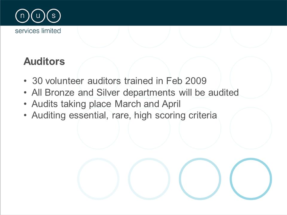 Auditors 30 volunteer auditors trained in Feb 2009 All Bronze and Silver departments will be audited Audits taking place March and April Auditing essential, rare, high scoring criteria