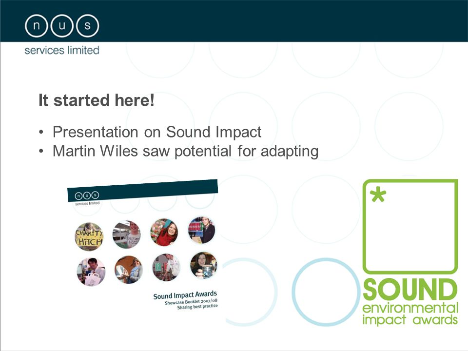 It started here! Presentation on Sound Impact Martin Wiles saw potential for adapting
