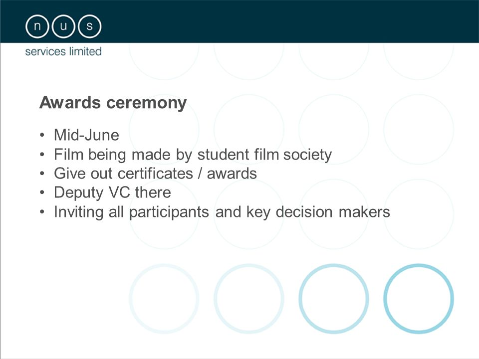 Awards ceremony Mid-June Film being made by student film society Give out certificates / awards Deputy VC there Inviting all participants and key decision makers