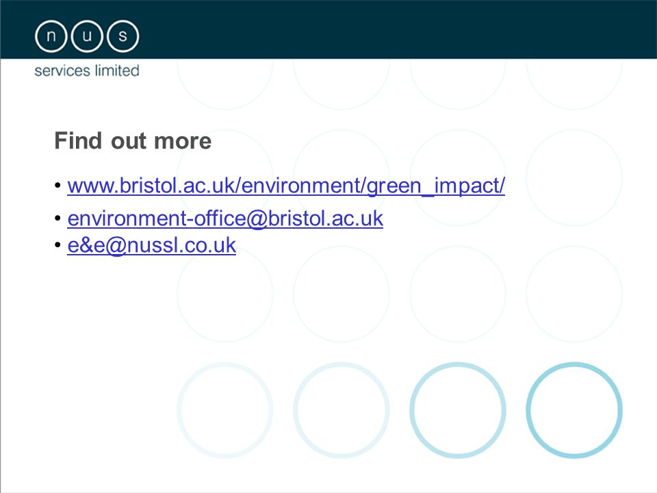 Find out more www.bristol.ac.uk/environment/green_impact/ environment-office@bristol.ac.uk e&e@nussl.co.uk