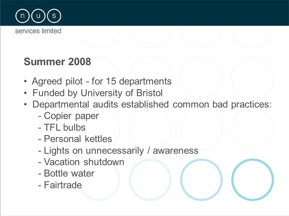 Summer 2008 Agreed pilot - for 15 departments Funded by University of Bristol Departmental audits established common bad practices: - Copier paper - TFL bulbs - Personal kettles - Lights on unnecessarily / awareness - Vacation shutdown - Bottle water - Fairtrade