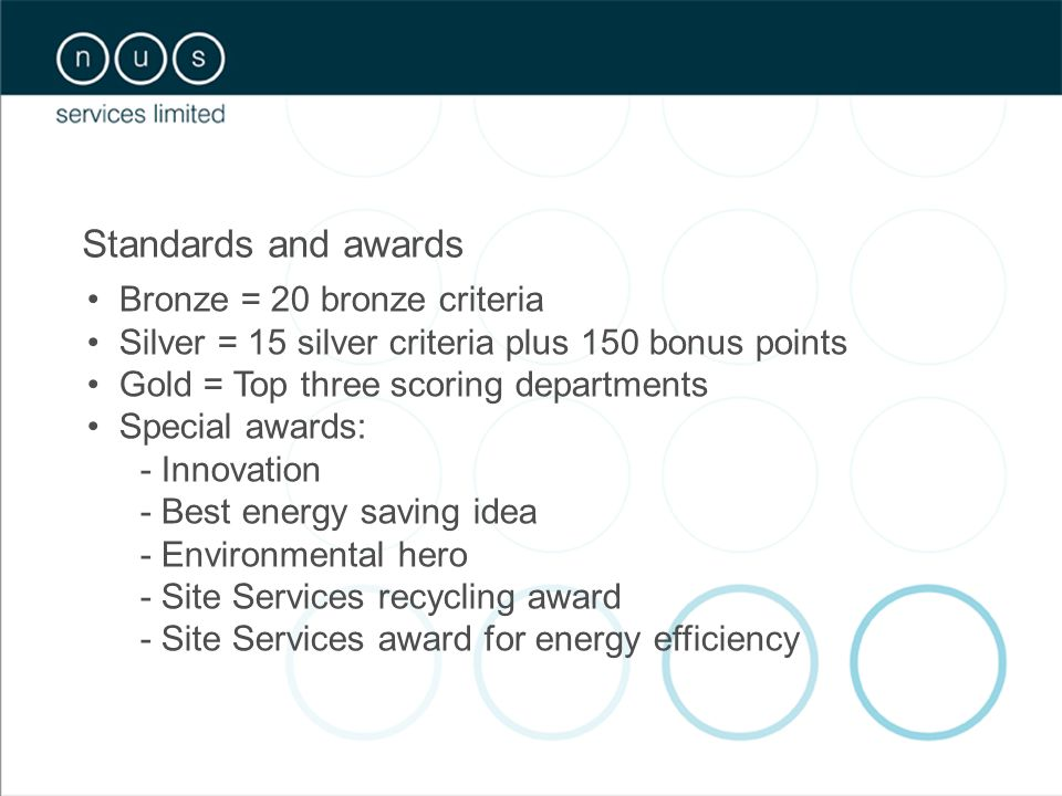 Standards and awards Bronze = 20 bronze criteria Silver = 15 silver criteria plus 150 bonus points Gold = Top three scoring departments Special awards: - Innovation - Best energy saving idea - Environmental hero - Site Services recycling award - Site Services award for energy efficiency