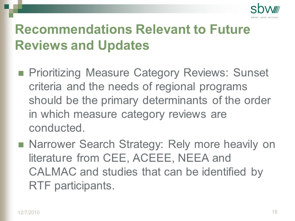 Recommendations Relevant to Future Reviews and Updates Prioritizing Measure Category Reviews: Sunset criteria and the needs of regional programs should be the primary determinants of the order in which measure category reviews are conducted.