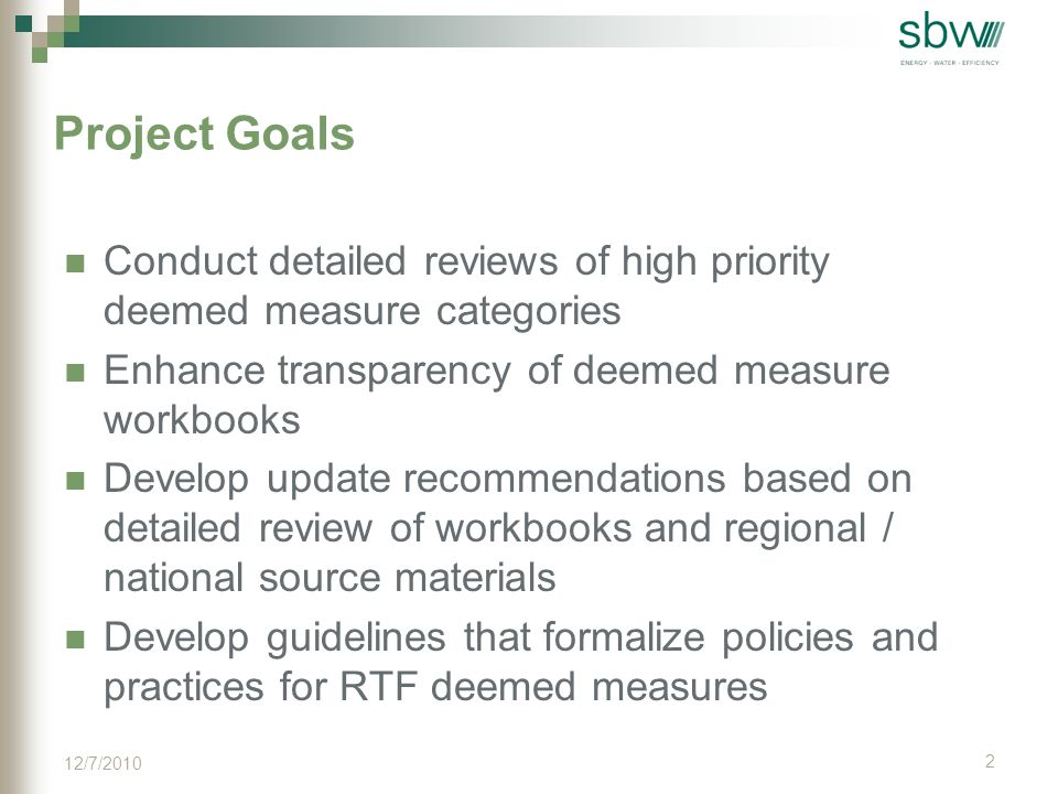Methodology Data Collection from Regional and National Sources Selection of Measure Categories for Detailed Review Develop Summary Template Detailed Review Develop the Guidelines 3 12/7/2010