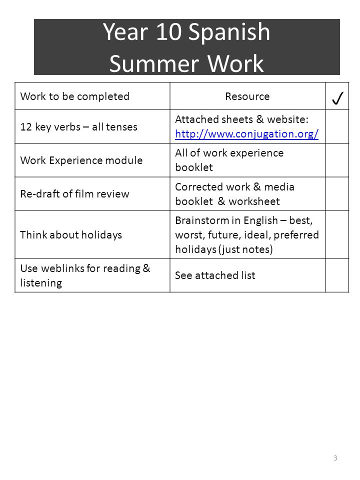 Year 10 Spanish Summer Work Work to be completedResource  12 key verbs – all tenses Attached sheets & website: http://www.conjugation.org/ http://www