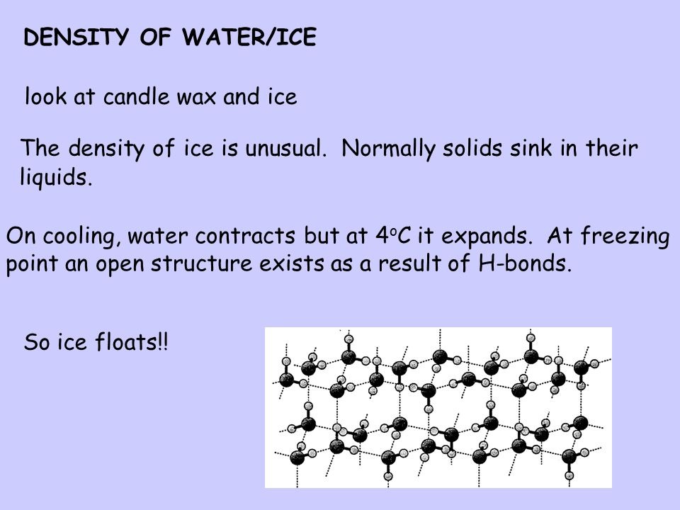 Why does the ice float in Mrs Brown's gin and tonic? Why do icebergs float? Why do fish in ponds not die in winter when the water freezes?