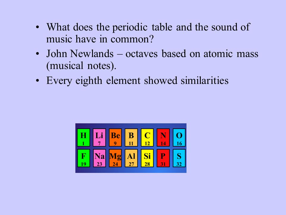 What does the periodic table and the sound of music have in common.