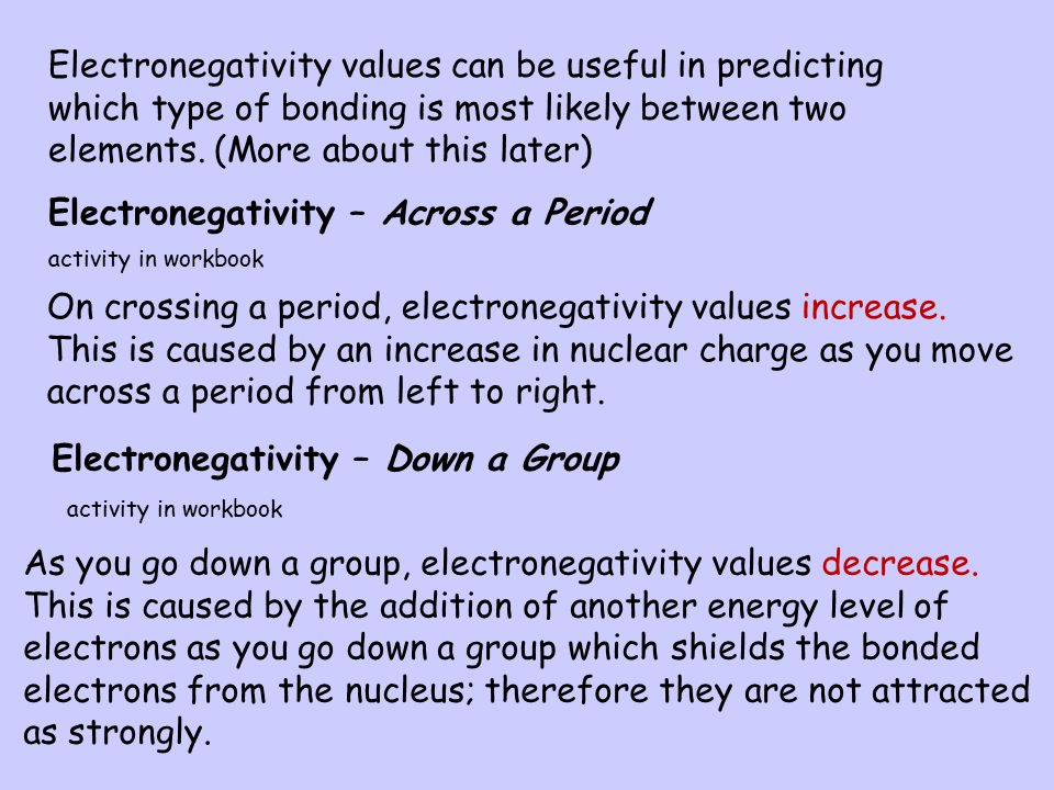 Electronegativity The electronegativity is a measure of the attraction an atom involved in a bond has for the shared pair of electrons. Electronegativ