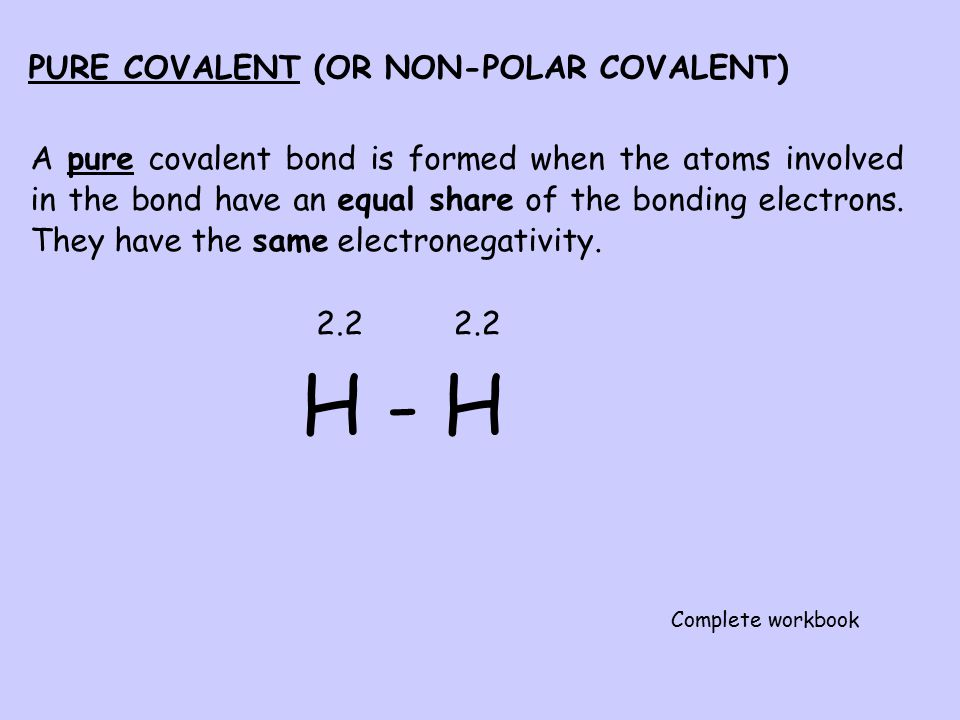 Polar Covalent Bond e.g. Hydrogen Iodide If hydrogen iodide contained a pure covalent bond, the electrons would be shared equally as shown above. Howe