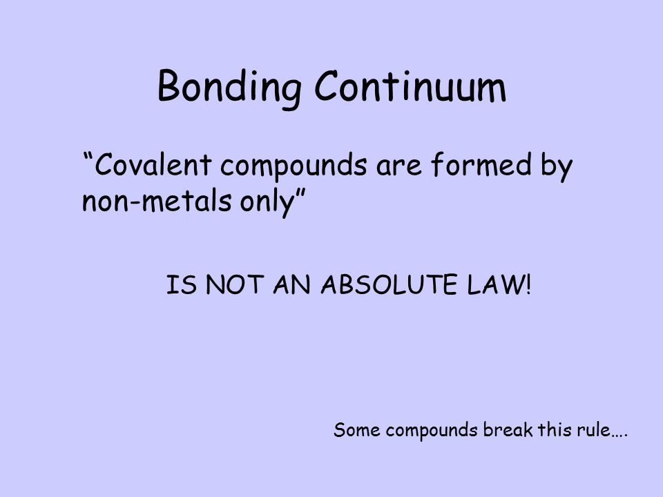 The greater the difference in electronegativity the greater the polarity between two bonding atoms and the more ionic in character. A bonding continuu