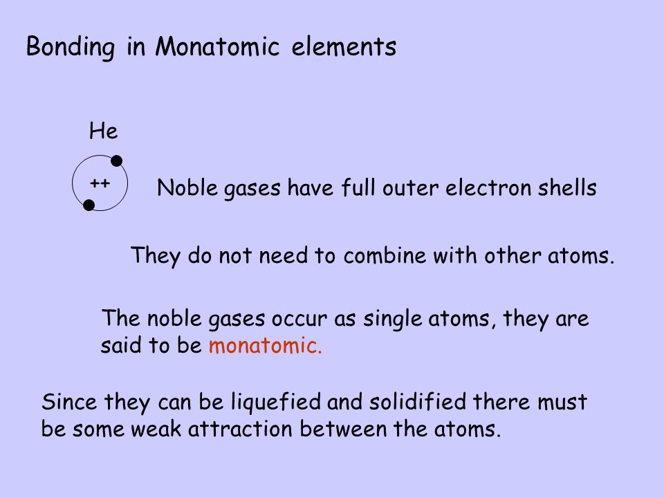 Bonding in Monatomic elements Noble gases have full outer electron shells They do not need to combine with other atoms.