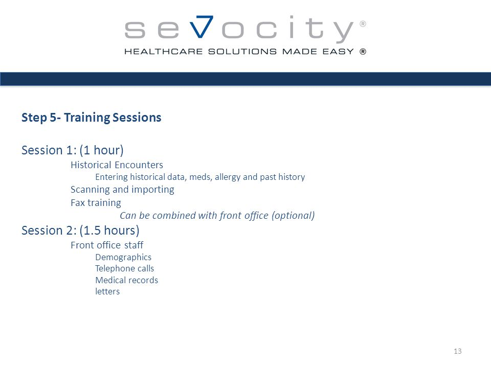 Step 5- Training Sessions Session 1: (1 hour) Historical Encounters Entering historical data, meds, allergy and past history Scanning and importing Fax training Can be combined with front office (optional) Session 2: (1.5 hours) Front office staff Demographics Telephone calls Medical records letters 13
