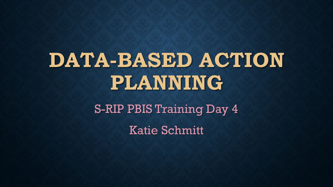 DATA-BASED ACTION PLANNING S-RIP PBIS Training Day 4 Katie Schmitt