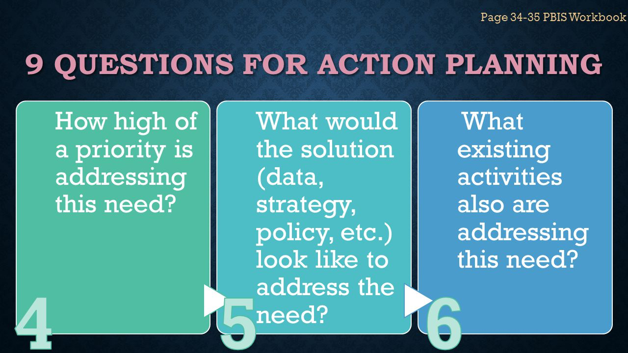 9 QUESTIONS FOR ACTION PLANNING How high of a priority is addressing this need? What would the solution (data, strategy, policy, etc.) look like to ad