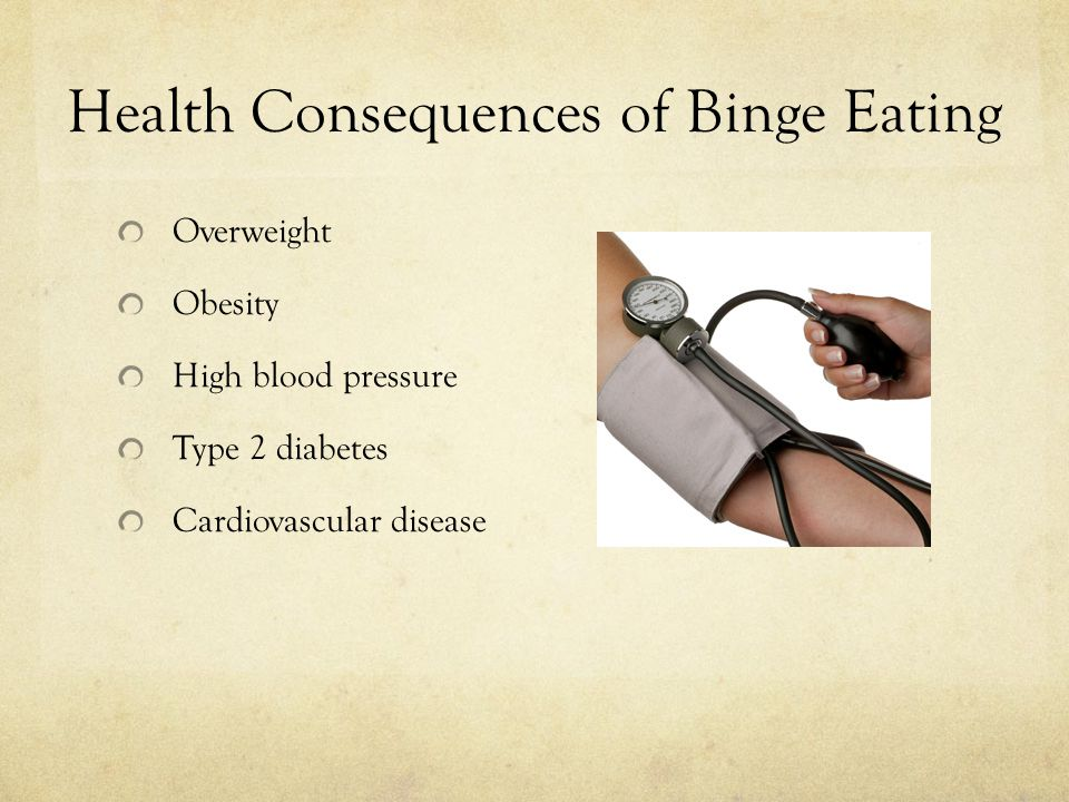 Health Consequences of Binge Eating Overweight Obesity High blood pressure Type 2 diabetes Cardiovascular disease