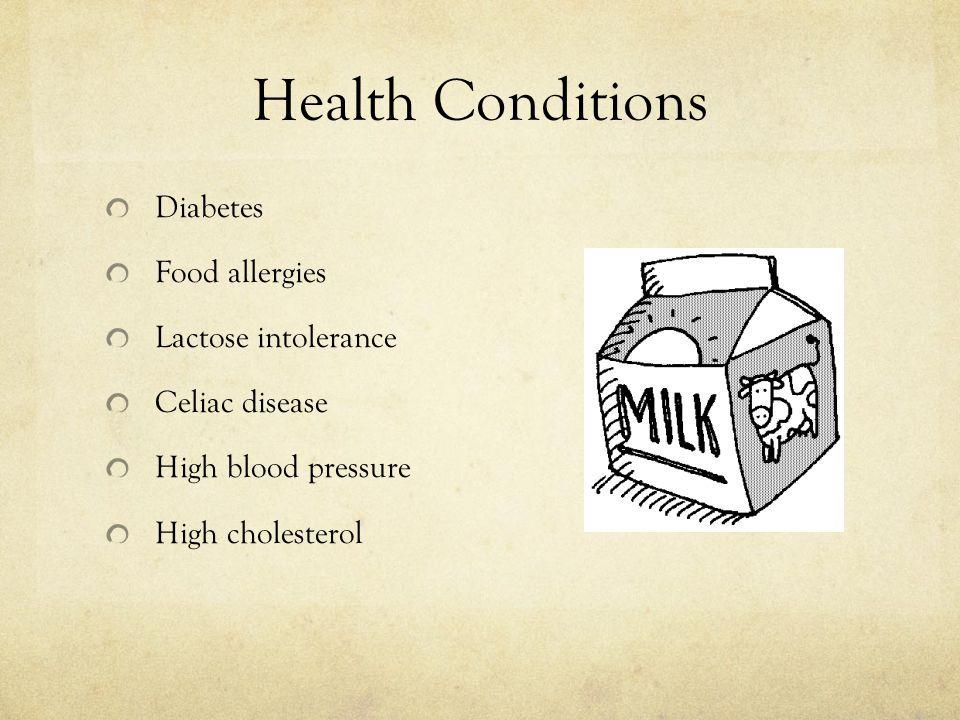 Health Conditions Diabetes Food allergies Lactose intolerance Celiac disease High blood pressure High cholesterol
