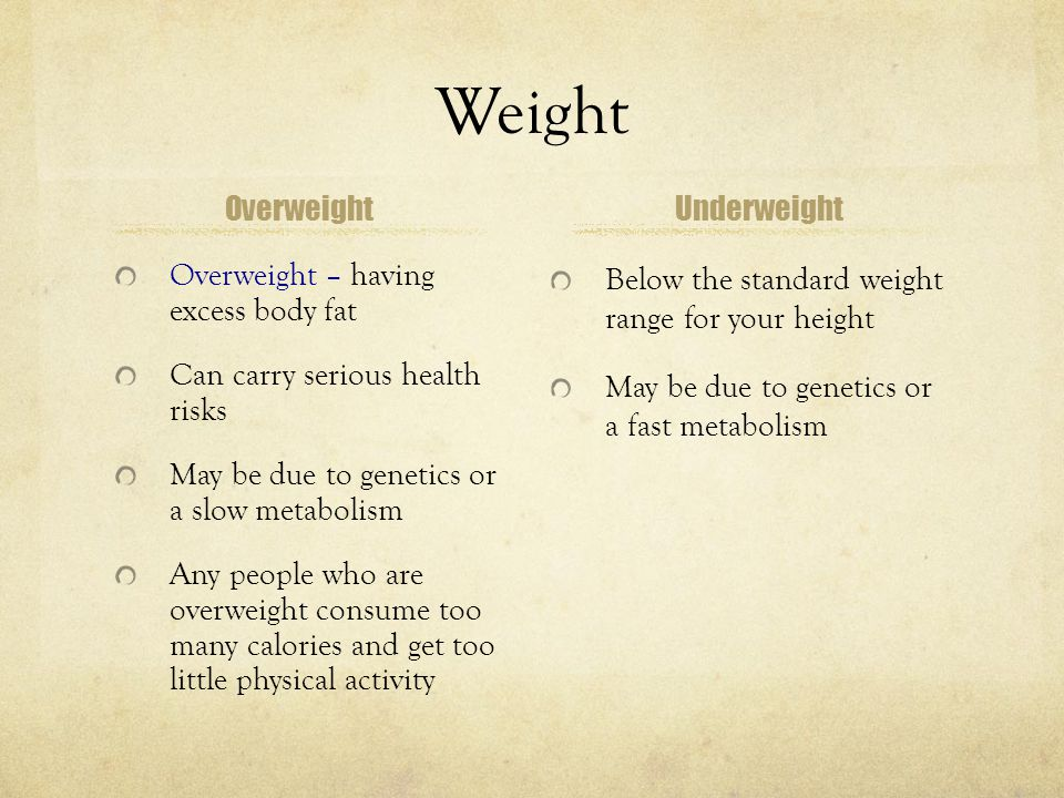 Managing Your Weight Target a healthy weight Set realistic goals Personalize your plan Put goals in writing Evaluate your progress
