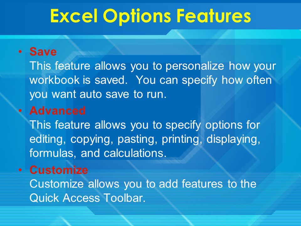 Excel Options Features Formulas This feature allows you to modify calculation options, working with formulas, error checking, and error checking rules.