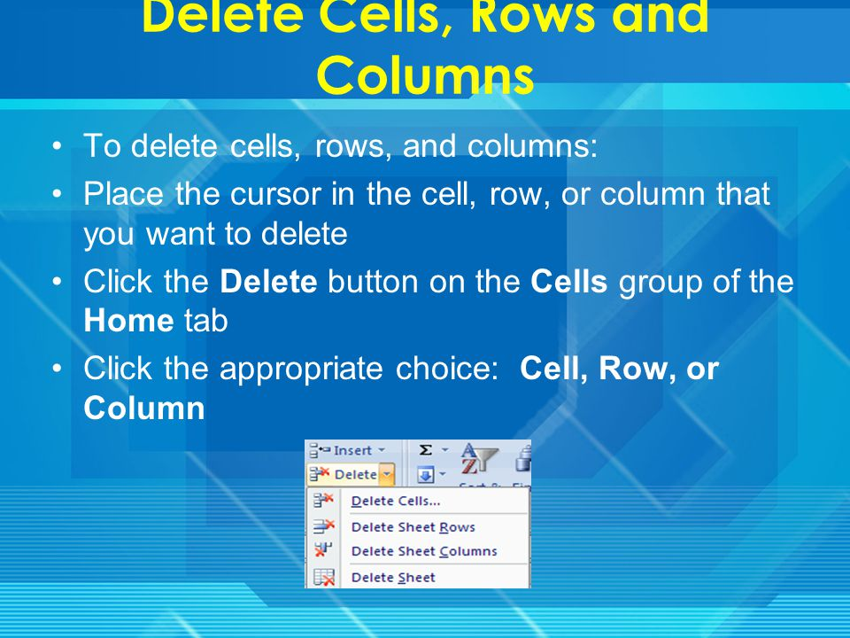 Insert Cells, Rows, and Columns To insert cells, rows, and columns in Excel: Place the cursor in the row below where you want the new row, or in the column to the left of where you want the new column Click the Insert button on the Cells group of the Home tab Click the appropriate choice: Cell, Row, or Column