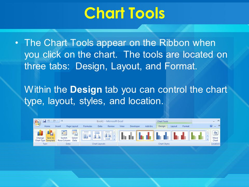 Charts Charts allow you to present information contained in the worksheet in a graphic format.