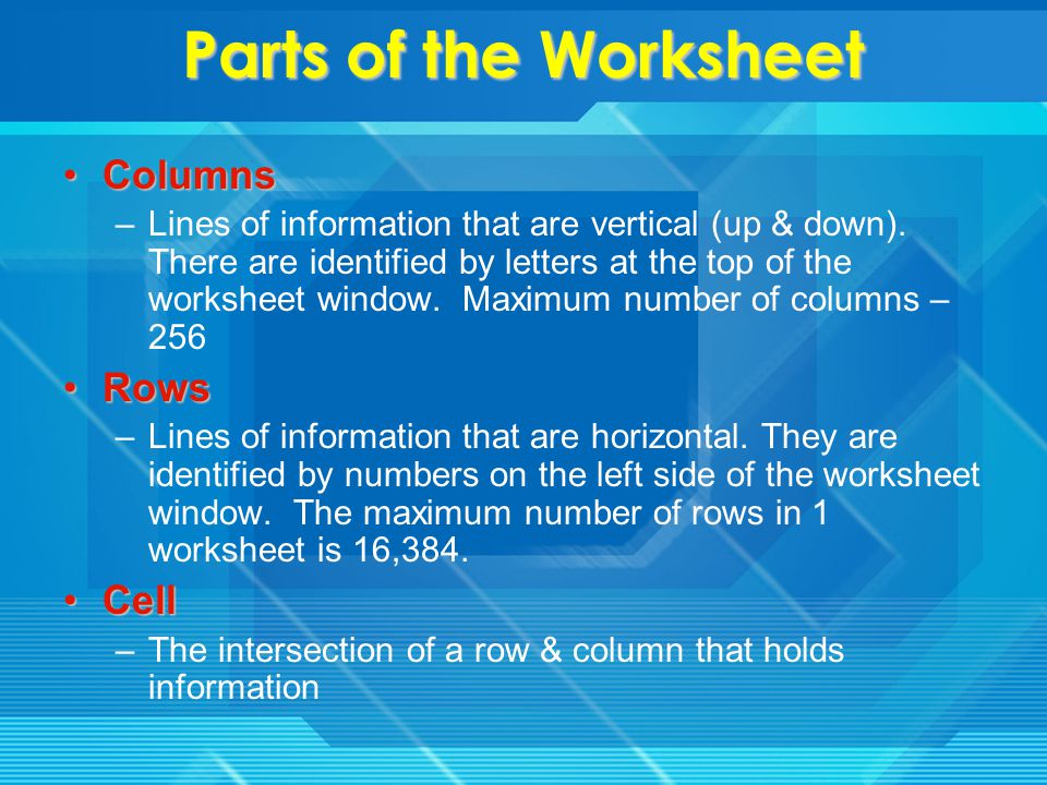 Important Terms Worksheet-Excel calls each spreadsheet a worksheet.