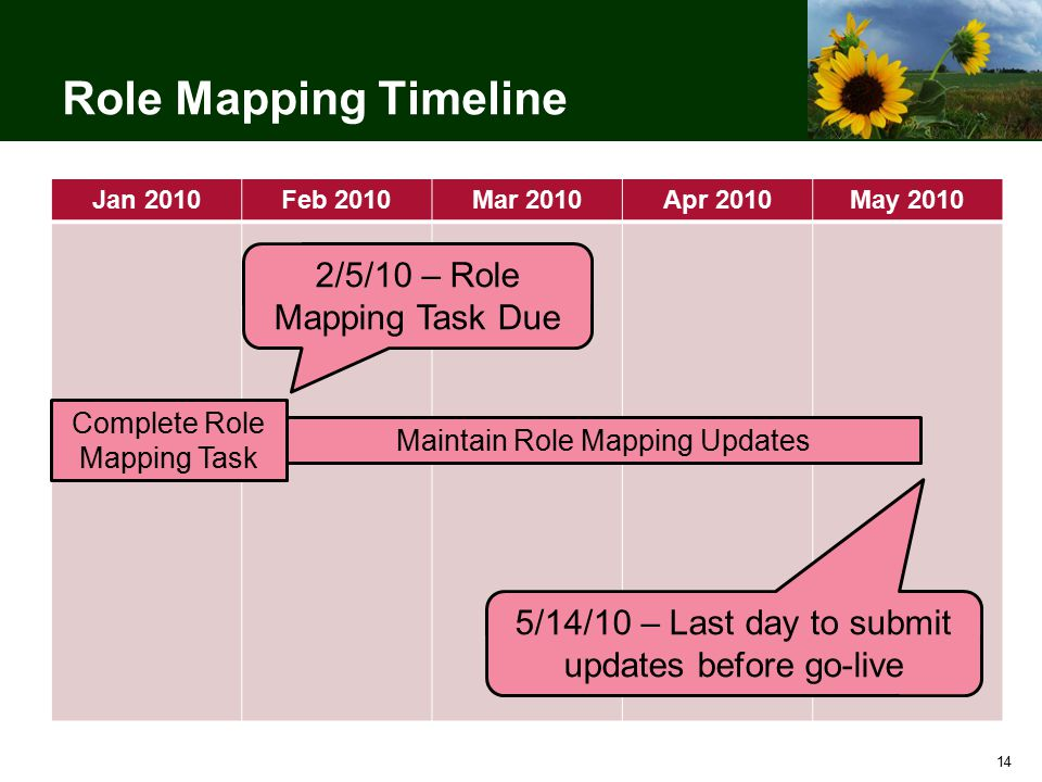 14 Role Mapping Timeline Jan 2010Feb 2010Mar 2010Apr 2010May 2010 Complete Role Mapping Task Maintain Role Mapping Updates 2/5/10 – Role Mapping Task Due 5/14/10 – Last day to submit updates before go-live