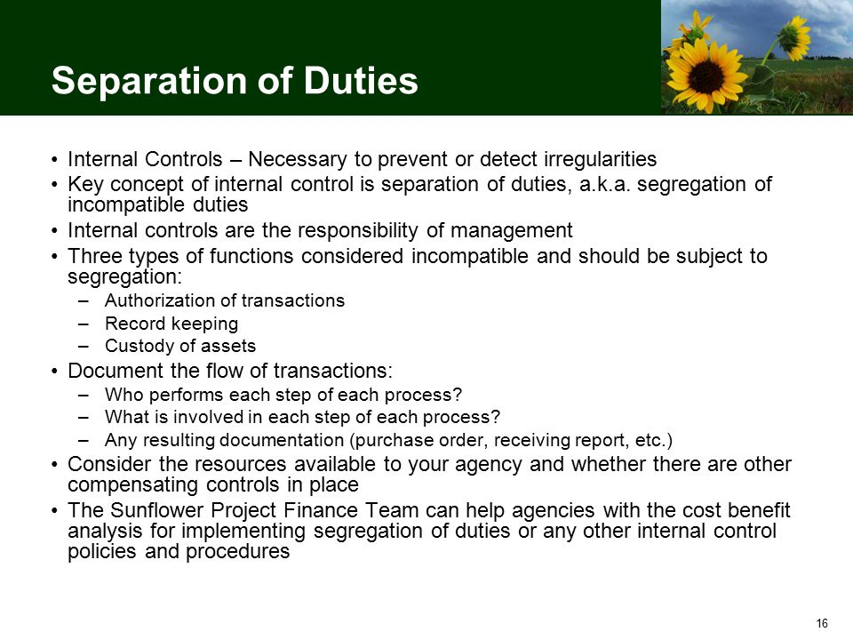 16 Separation of Duties Internal Controls – Necessary to prevent or detect irregularities Key concept of internal control is separation of duties, a.k.a.