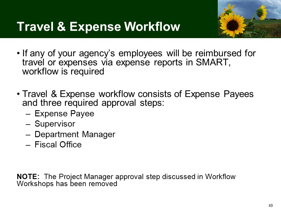 49 Travel & Expense Workflow If any of your agency's employees will be reimbursed for travel or expenses via expense reports in SMART, workflow is required Travel & Expense workflow consists of Expense Payees and three required approval steps: –Expense Payee –Supervisor –Department Manager –Fiscal Office NOTE: The Project Manager approval step discussed in Workflow Workshops has been removed