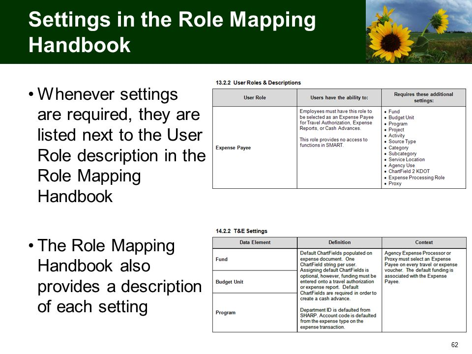 62 Settings in the Role Mapping Handbook Whenever settings are required, they are listed next to the User Role description in the Role Mapping Handbook The Role Mapping Handbook also provides a description of each setting