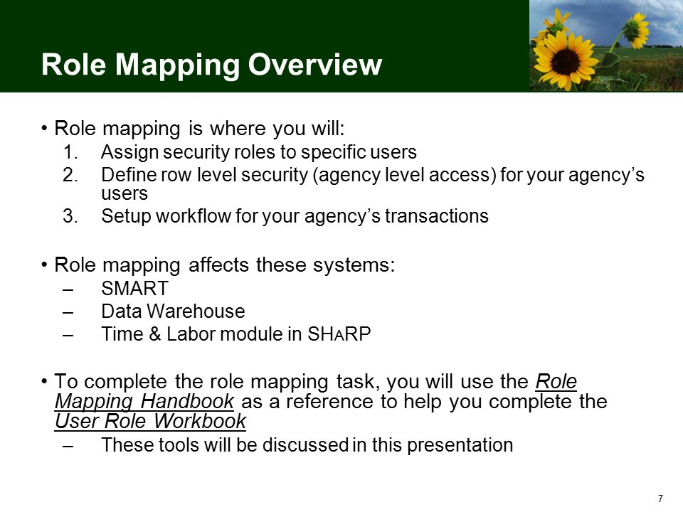 7 Role Mapping Overview Role mapping is where you will: 1.Assign security roles to specific users 2.Define row level security (agency level access) for your agency's users 3.Setup workflow for your agency's transactions Role mapping affects these systems: –SMART –Data Warehouse –Time & Labor module in SH A RP To complete the role mapping task, you will use the Role Mapping Handbook as a reference to help you complete the User Role Workbook –These tools will be discussed in this presentation