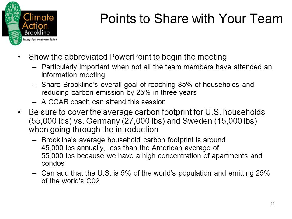 11 Points to Share with Your Team Show the abbreviated PowerPoint to begin the meeting –Particularly important when not all the team members have attended an information meeting –Share Brookline's overall goal of reaching 85% of households and reducing carbon emission by 25% in three years –A CCAB coach can attend this session Be sure to cover the average carbon footprint for U.S.