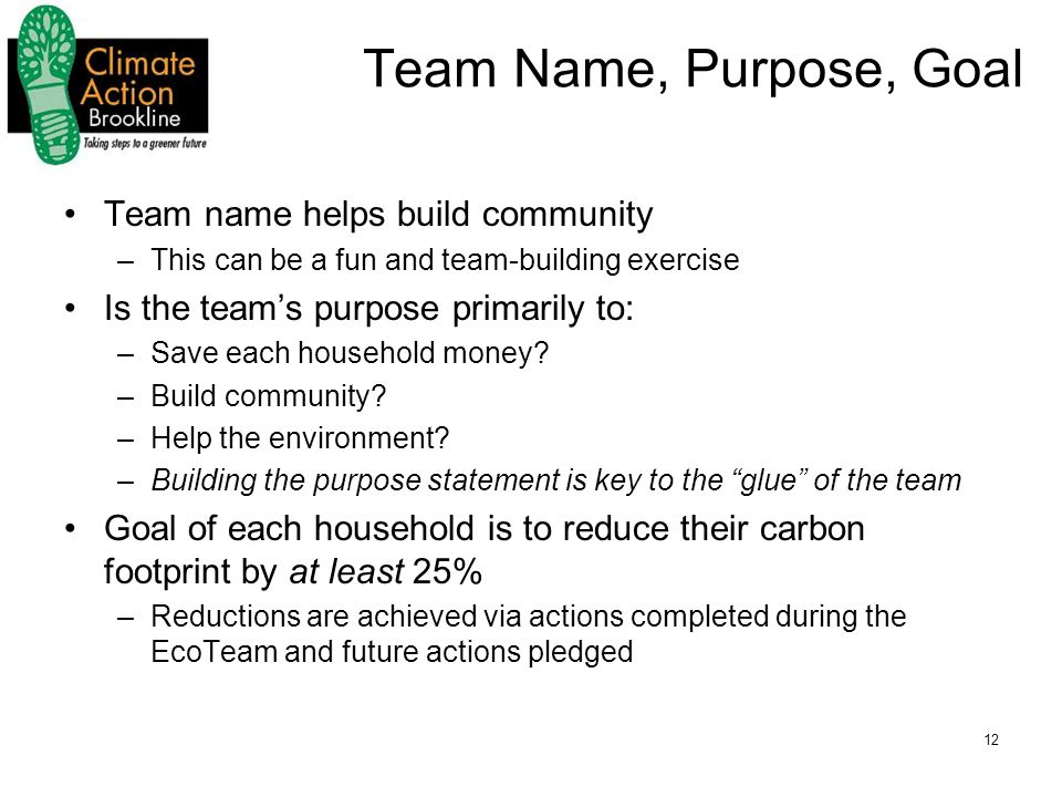 12 Team Name, Purpose, Goal Team name helps build community –This can be a fun and team-building exercise Is the team's purpose primarily to: –Save each household money.