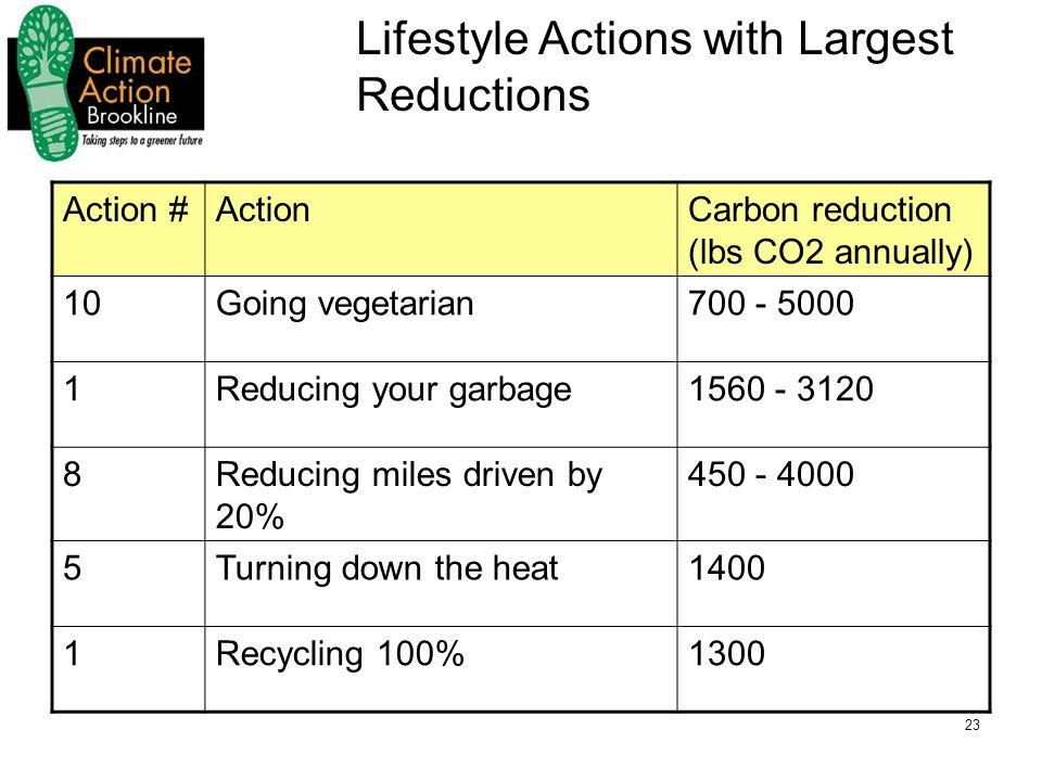 23 Lifestyle Actions with Largest Reductions Action #ActionCarbon reduction (lbs CO2 annually) 10Going vegetarian700 - 5000 1Reducing your garbage1560 - 3120 8Reducing miles driven by 20% 450 - 4000 5Turning down the heat1400 1Recycling 100%1300