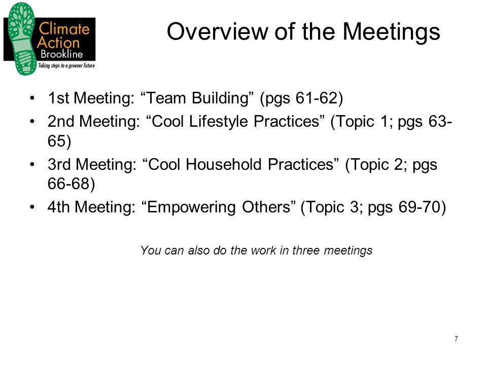 7 Overview of the Meetings 1st Meeting: Team Building (pgs 61-62) 2nd Meeting: Cool Lifestyle Practices (Topic 1; pgs 63- 65) 3rd Meeting: Cool Household Practices (Topic 2; pgs 66-68) 4th Meeting: Empowering Others (Topic 3; pgs 69-70) You can also do the work in three meetings