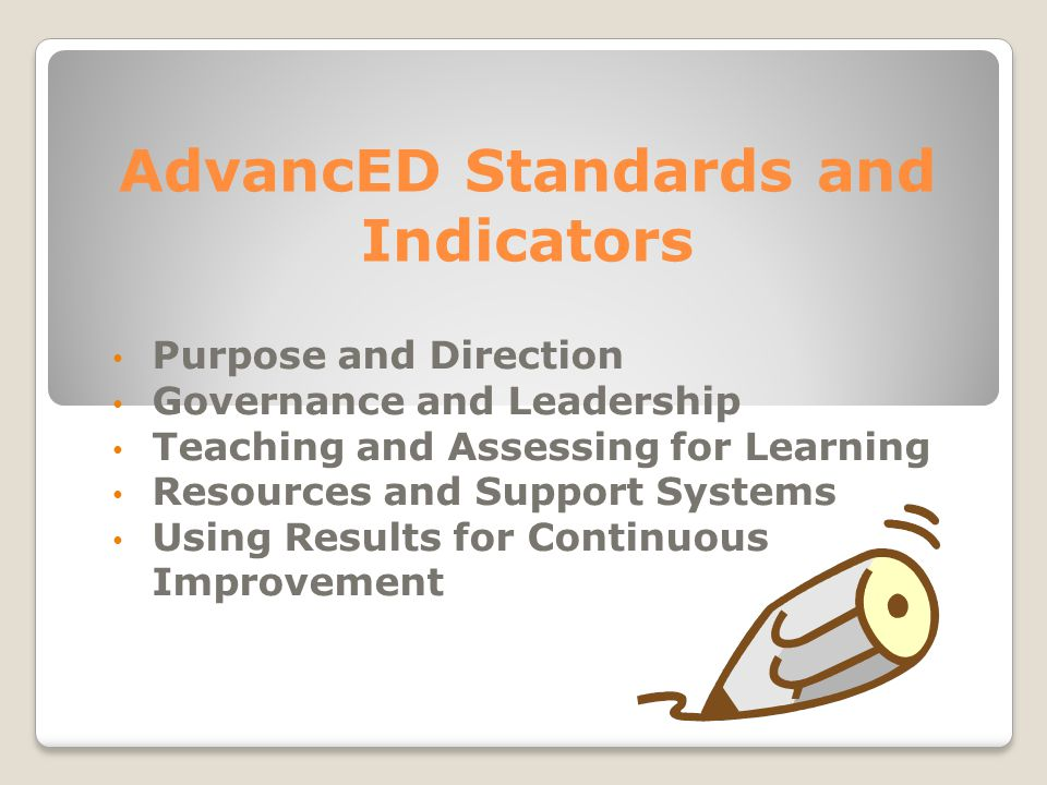 AdvancED Standards and Indicators Purpose and Direction Governance and Leadership Teaching and Assessing for Learning Resources and Support Systems Using Results for Continuous Improvement