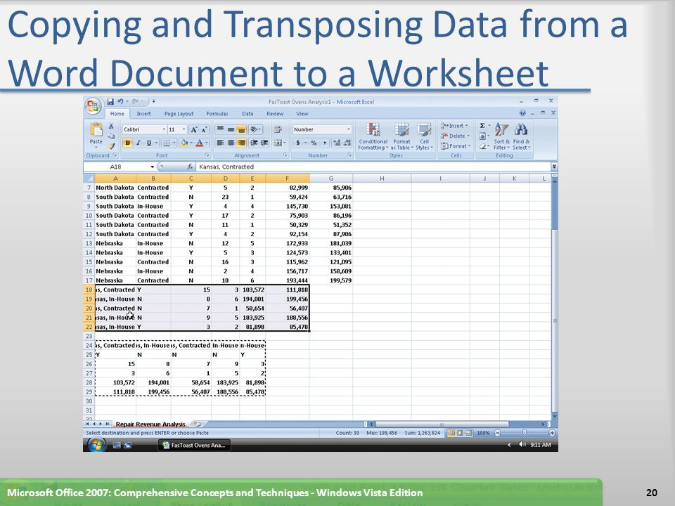 Copying and Transposing Data from a Word Document to a Worksheet Microsoft Office 2007: Comprehensive Concepts and Techniques - Windows Vista Edition20