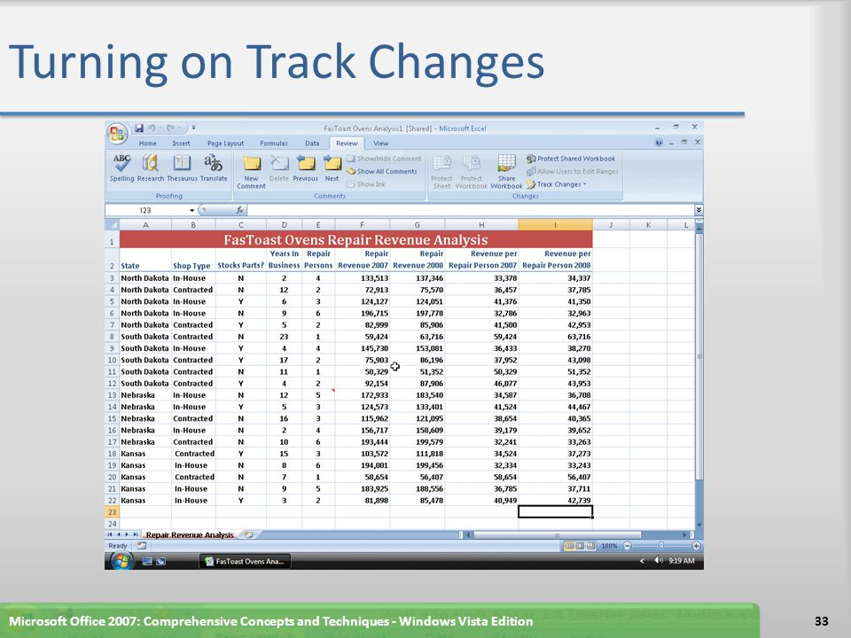 Turning on Track Changes Microsoft Office 2007: Comprehensive Concepts and Techniques - Windows Vista Edition33