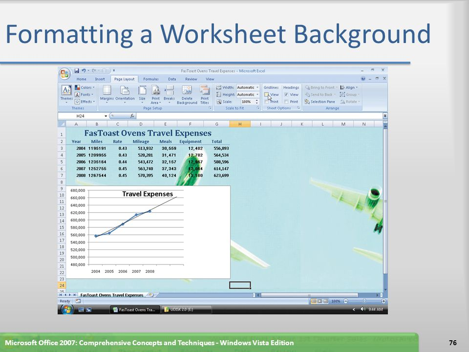 Formatting a Worksheet Background Microsoft Office 2007: Comprehensive Concepts and Techniques - Windows Vista Edition76
