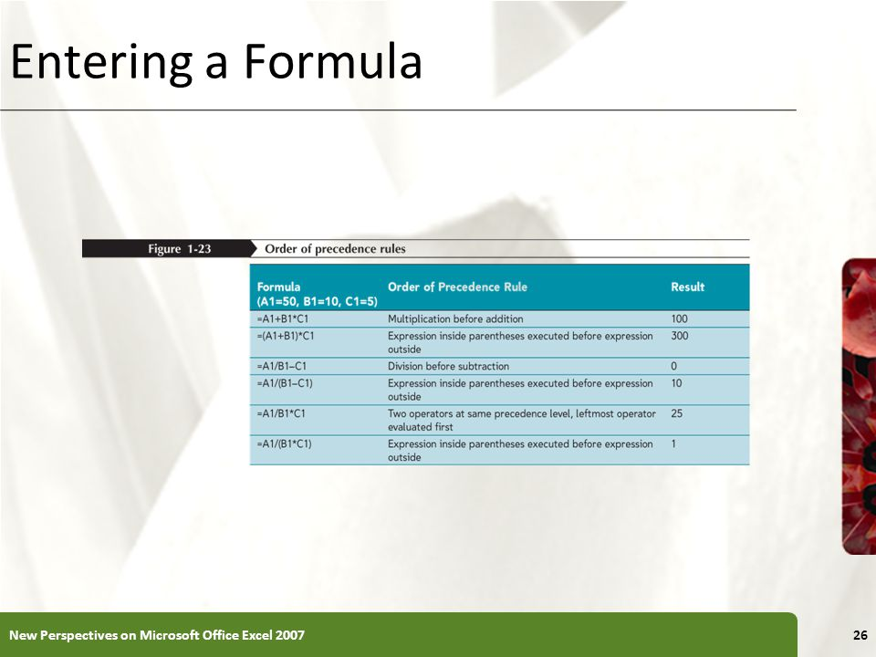 Entering a Formula New Perspectives on Microsoft Office Excel 200726