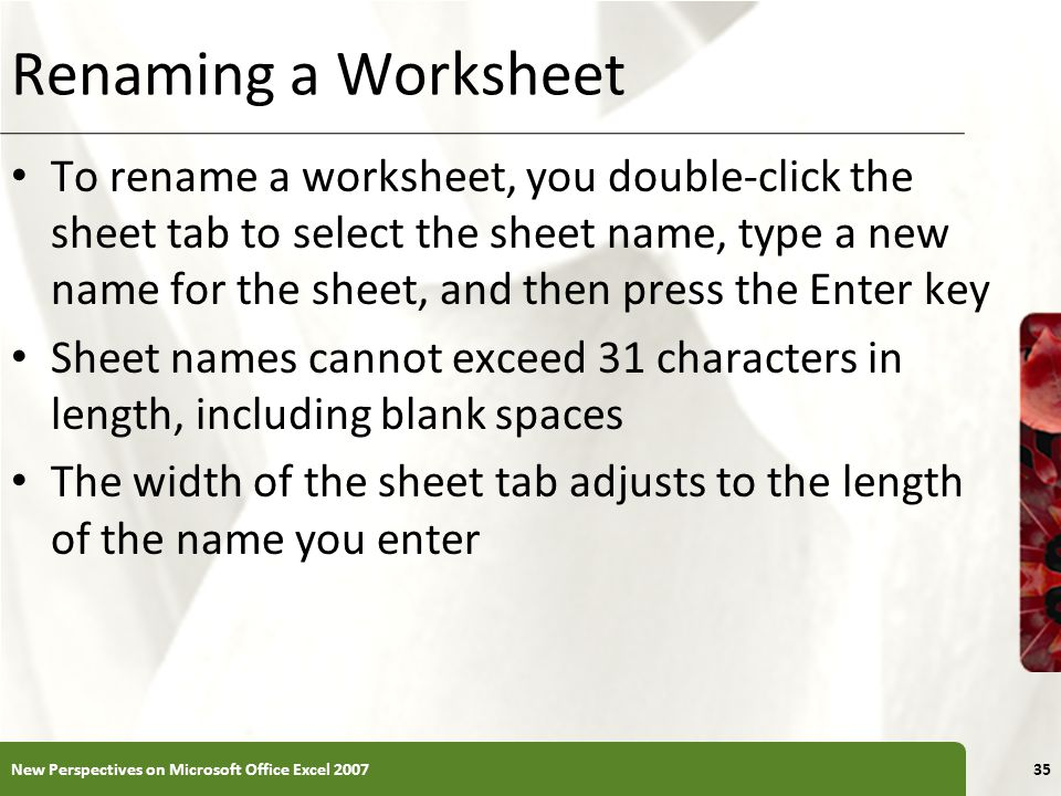 Renaming a Worksheet To rename a worksheet, you double-click the sheet tab to select the sheet name, type a new name for the sheet, and then press the