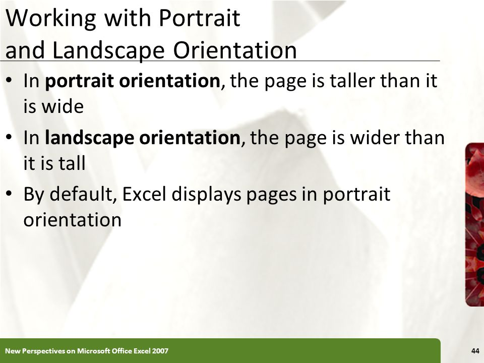 Working with Portrait and Landscape Orientation In portrait orientation, the page is taller than it is wide In landscape orientation, the page is wide