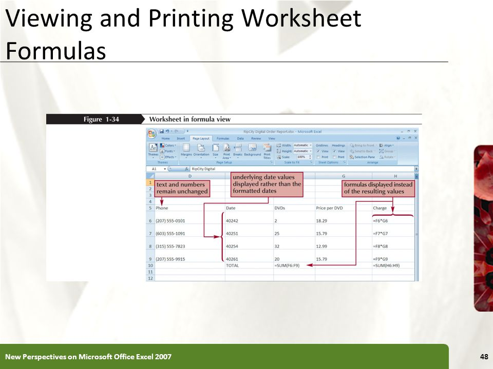 Viewing and Printing Worksheet Formulas New Perspectives on Microsoft Office Excel 200748