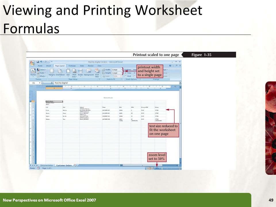 Viewing and Printing Worksheet Formulas New Perspectives on Microsoft Office Excel 200749