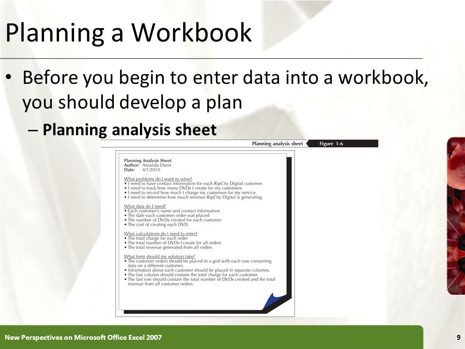 Planning a Workbook Before you begin to enter data into a workbook, you should develop a plan – Planning analysis sheet New Perspectives on Microsoft