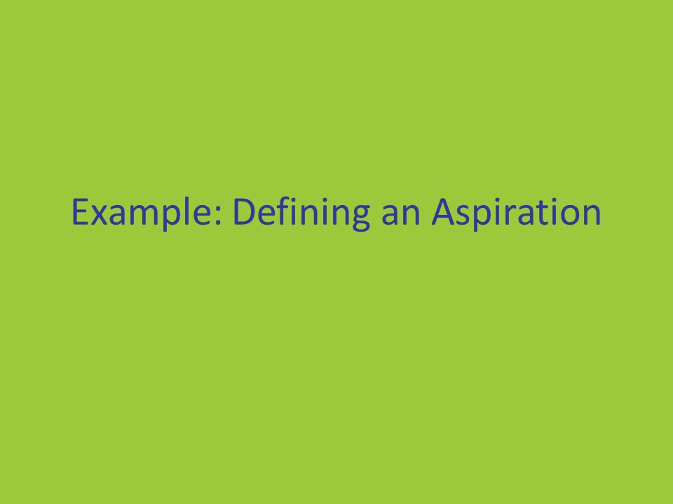 Example: Defining an Aspiration