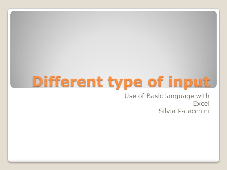 Different type of input Use of Basic language with Excel Silvia Patacchini