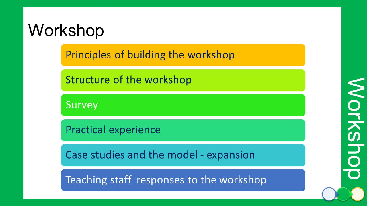 Principles of building the workshopStructure of the workshopSurveyPractical experienceCase studies and the model - expansionTeaching staff responses t