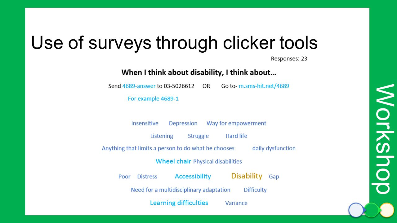 Workshop Use of surveys through clicker tools