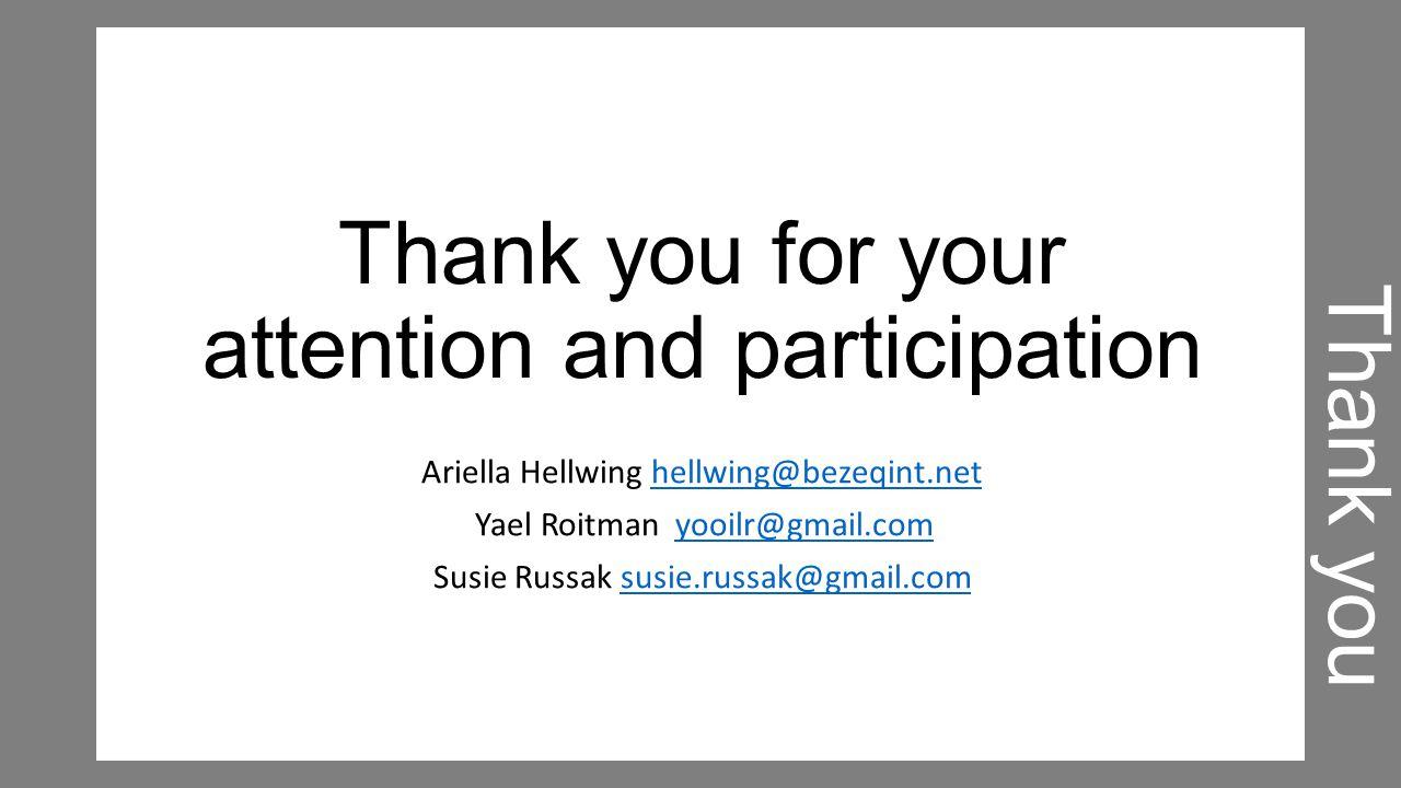 Thank you for your attention and participation Ariella Hellwing hellwing@bezeqint.nethellwing@bezeqint.net Yael Roitman yooilr@gmail.comyooilr@gmail.com Susie Russak susie.russak@gmail.comsusie.russak@gmail.com Thank you