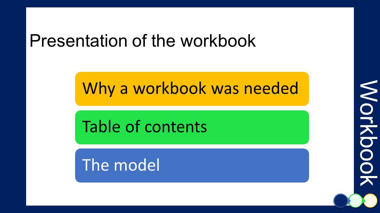 Presentation of the workbook Why a workbook was neededTable of contentsThe model Workbook